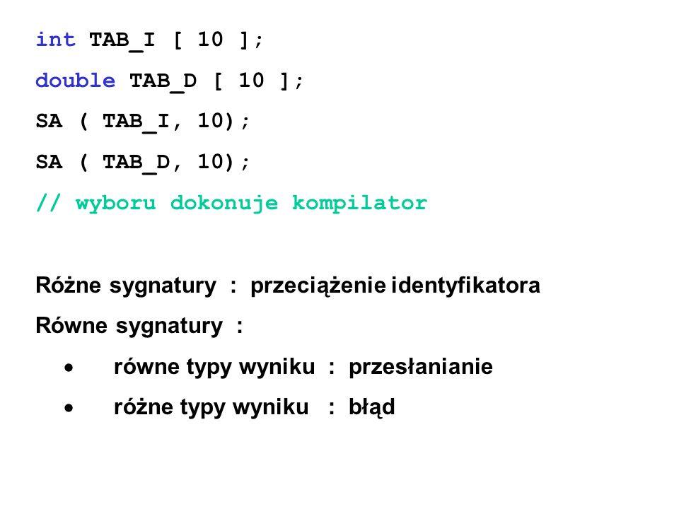 int TAB_I [ 10 ]; double TAB_D [ 10 ]; SA ( TAB_I, 10); SA ( TAB_D, 10); // wyboru dokonuje kompilator.